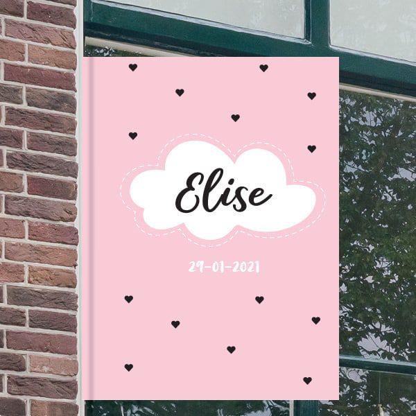 Geboortebord voor aan het raam - Wolkje met stippellijn - Roze