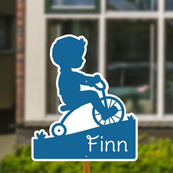 Geboortebord voor in de tuin - Jongetje op fiets - Donkerblauw