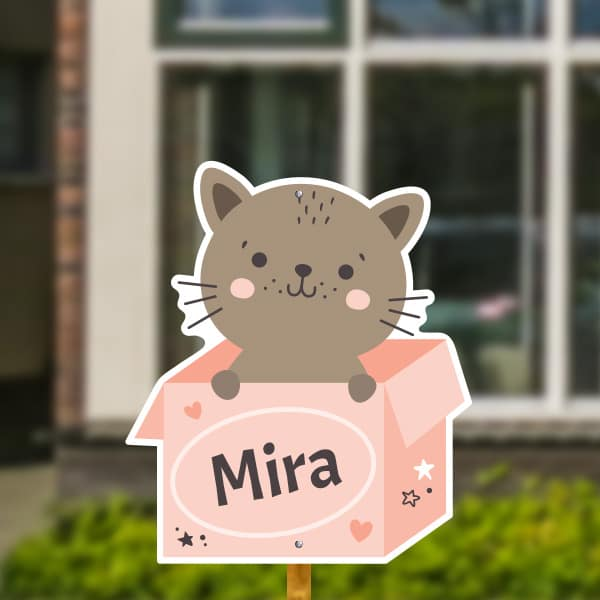 Geboortebord voor in de tuin - Katje in doos - Roze