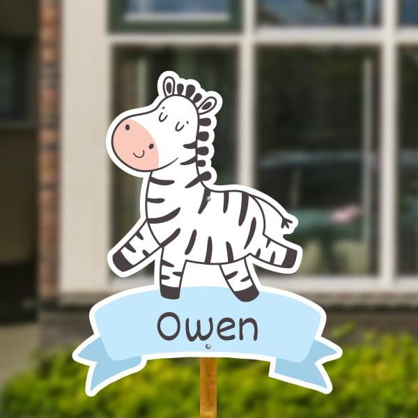 Geboortebord voor in de tuin - Zebra op vaandel - Lichtblauw