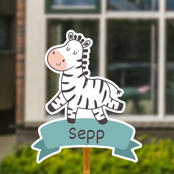 Geboortebord voor in de tuin - Zebra op vaandel - Mintgroen