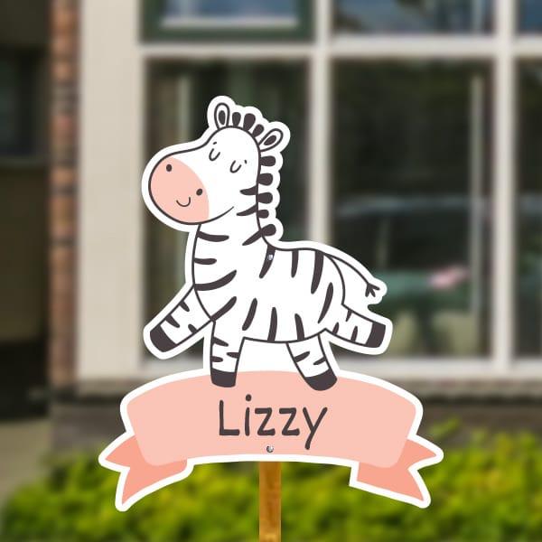 Geboortebord voor in de tuin - Zebra op vaandel - Oudroze