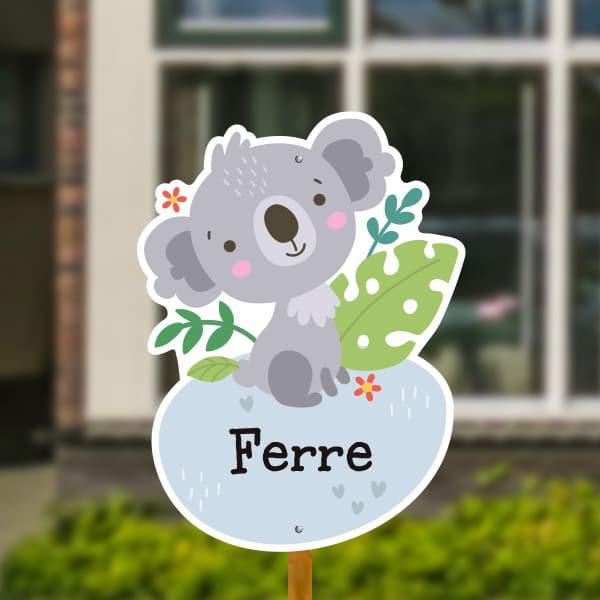 Geboortebord voor in de tuin - Jungle baby koala - Grijsblauw