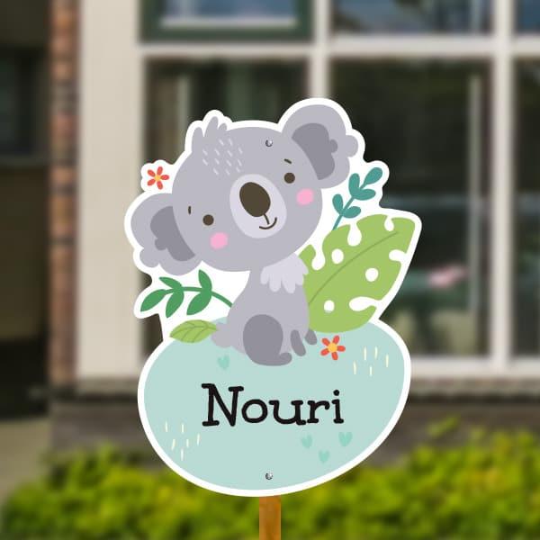 Geboortebord voor in de tuin - Jungle baby koala - Mintgroen