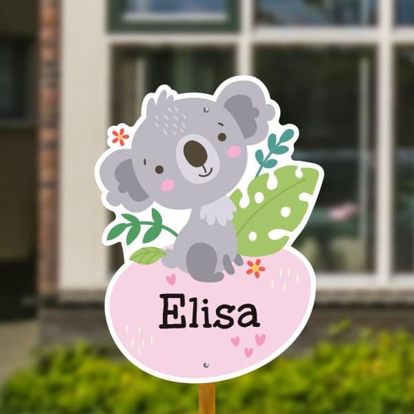 Geboortebord voor in de tuin - Jungle baby koala - Roze