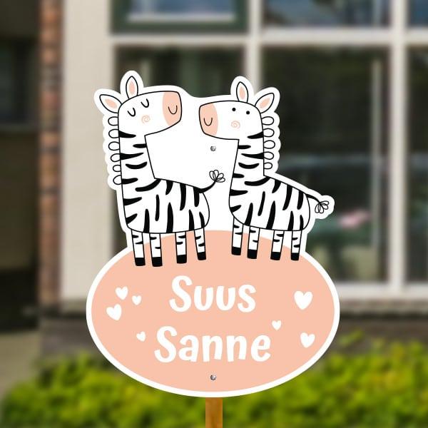 Geboortebord voor in de tuin - Tweeling zebra's - Roze