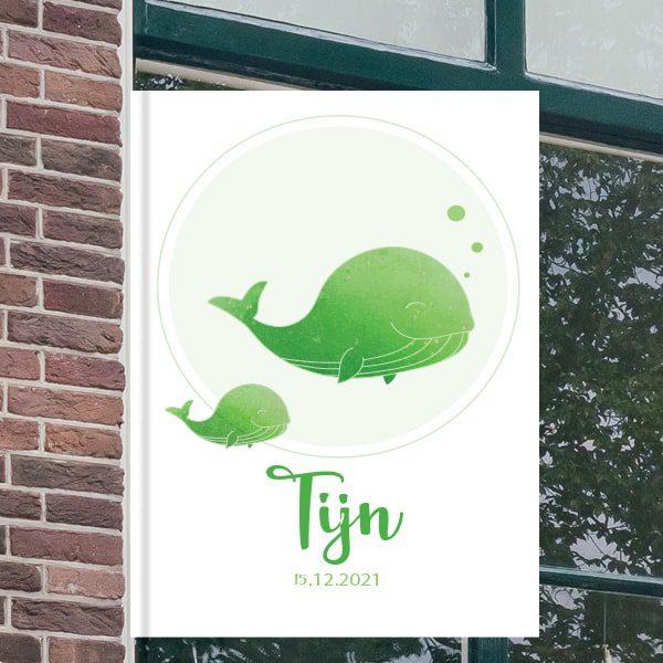 Geboortebord voor aan het raam - Walvis met baby walvis - Groen