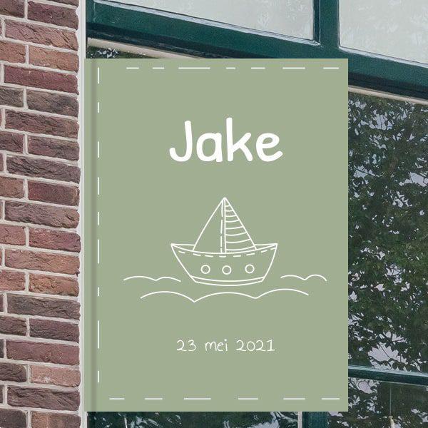 Geboortebord voor aan het raam - Zeilbootje op het water - Groen