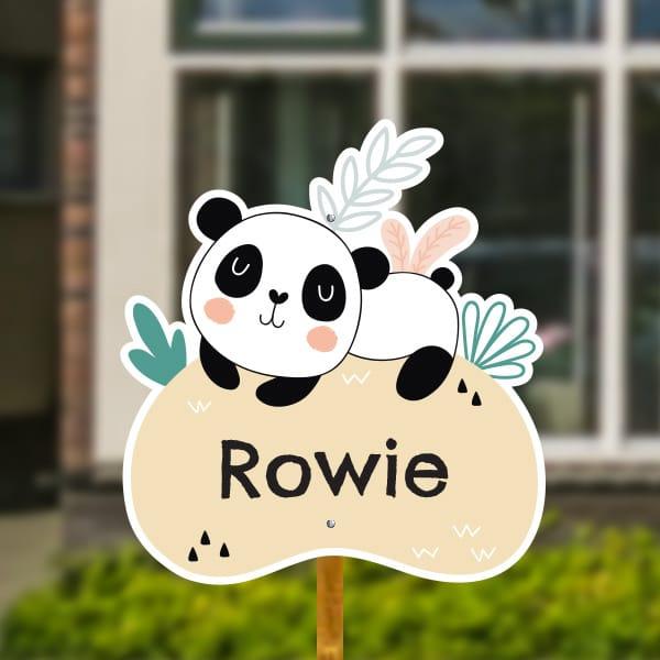 Geboortebord voor in de tuin - Panda met tropische bladeren - Pastelgeel