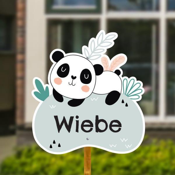 Geboortebord voor in de tuin - Panda met tropische bladeren - Zeegroen