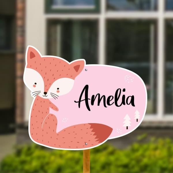 Geboortebord voor in de tuin - Vosje met bomen - Roze