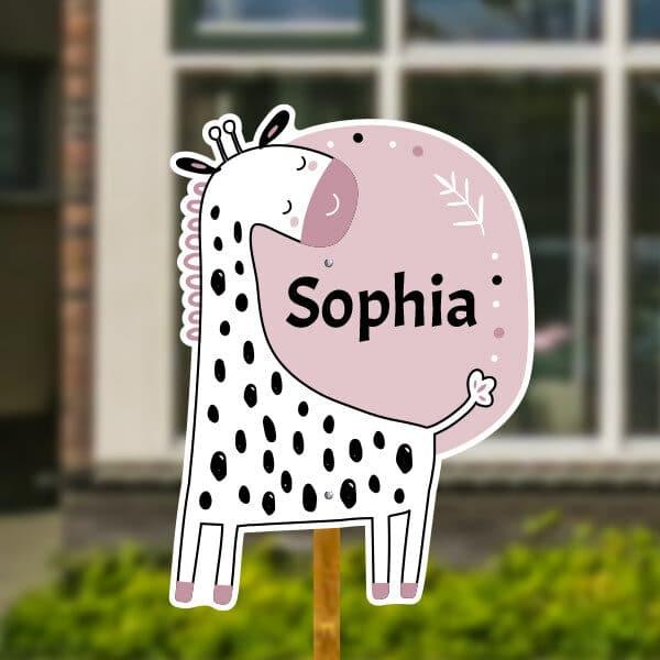 Geboortebord voor in de tuin - Scandinavische giraf - Oudroze